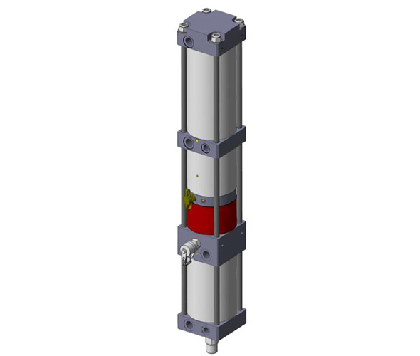 Pneumo-hydraulic power unit in line version