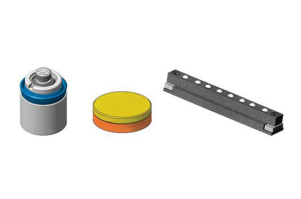 Cartridge shape cylinders, locking tablets, mould bolsters